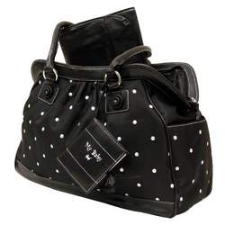 Baby Essentials Embroidered Large Satchel Diaper Bag with Brag Book - Black Dot