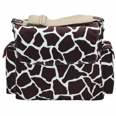 Oioi Giraffe Print Messenger Diaper Bag in Cocoa on White, Burnt Sienna, and Faux leather trim