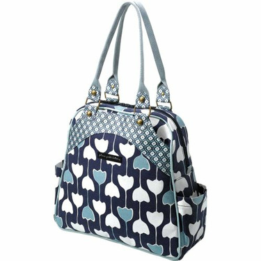 Petunia Pickle Bottom Diaper Bag : Organic Cotton Canvas Sashay Satchel - Tranquil Tulips Converts From Shoulder to Backpack Style