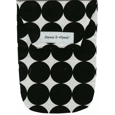 Diapees and Wipees Accessory Bag - Black Disco Dot