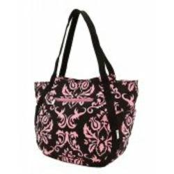Damask Print Black and Pink Extra Large Diaper Bag