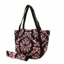 Damask Print Black and Pink Extra Large Diaper Bag
