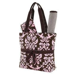 Belvah Quilted Damask 3pc Diaper Bag (Brown/ Pink)