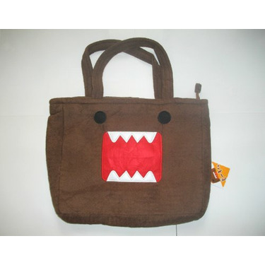 "Large 15"" Domo Kun Brown Furry Tote Bag Purse ~Book Bag~"