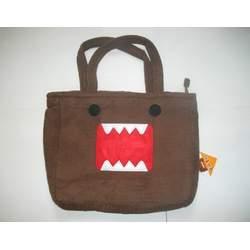 "Large 15"" Domo Kun Brown Furry Tote Bag Purse ~Book Bag~"