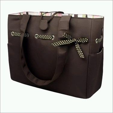 Mocha Mint Tote Set and Diaper Bag