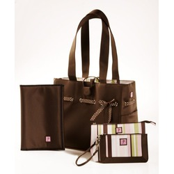 Mocha Mint Tote Set and Diaper Bag