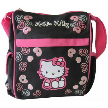 Hello Kitty Diaper Bag with Side Compartments and Shoulder Strap, Black/Pink