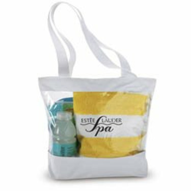 Clear Tote Bag with Color Trim (White)