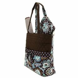 Belvah Quilted Floral 3pc Diaper Bag (Brown/ Turquoise)