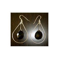 Krafty Kameleon Smoke Quartz Tear Drop Earrings