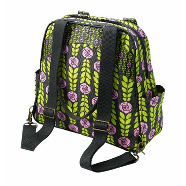 Petunia Pickle Bottom Diaper Bag : Organic Cotton Canvas Sashay Satchel - Rambling Rose Converts From Shoulder to Backpack Style