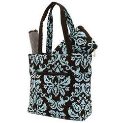 Belvah Quilted Damask 3pc Diaper Bag (Brown/ Turquoise)
