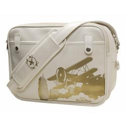 Cevan Metro Diaper Bag Parisian White Vintage Biplane Perforated Finish