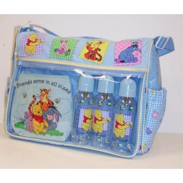 Disney Pooh Baby Large Diaper Bag +3 Bottles 9 Fl Oz
