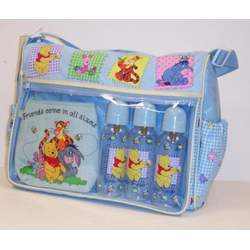 Disney Pooh Baby Large Diaper Bag +3 Bottles 9 Fl Oz
