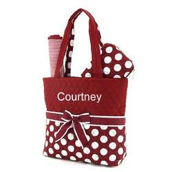 Belvah Quilted Maroon and White Polka Dot Monogrammed 3pc Diaper Tote Bag