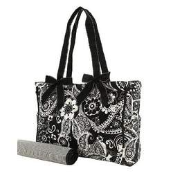 Belvah Quilted Black & White Paisley Diaper Bag (15x10x5.5)