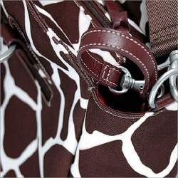 Oioi Giraffe Print Tote Diaper Bag in Cocoa on White, Burnt Sienna, and Faux leather trim