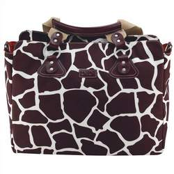 Oioi Giraffe Print Tote Diaper Bag in Cocoa on White, Burnt Sienna, and Faux leather trim