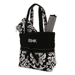 Belvah Quilted Damask Monogrammed Black and White 3pc Diaper Tote