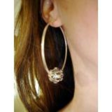 Krafty Kameleon Hoop Earrings with Small Silver Bead