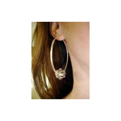 Krafty Kameleon Hoop Earrings with Small Silver Bead