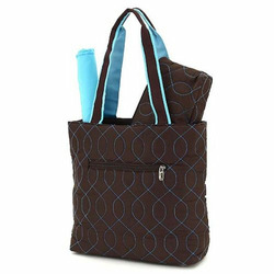 Quilted Wave Stitched 3pc Diaper Bag (Brown/ Turquoise)