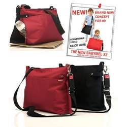 BabyMel X2 Diaper Bag - Red and Black Twin