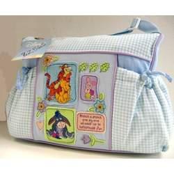 Disney Winnie the Pooh Baby Blue Gingham Diaper Bag