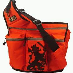 Diaper Dude Diaper Bag, Orange Lion Crest with FREE Stroller Strap
