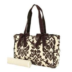 Belvah Collection Tan and Brown Quilted Damask 3pc Large Diaper Tote Bag
