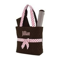 Belvah Brown with Pink Ribbon 3pc Monogrammed Diaper Tote