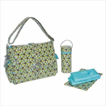 Laminated Buckle Bag in Pinwheels Blue