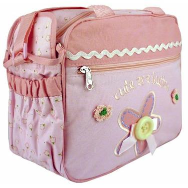 Baby Essentials Pink Flower Button Baby Diaper Bag / Cooler Bag