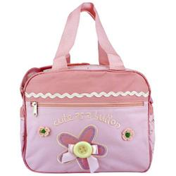 Baby Essentials Pink Flower Button Baby Diaper Bag / Cooler Bag