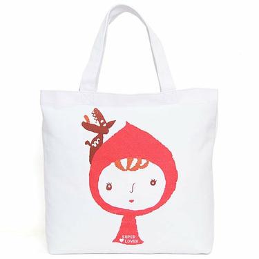 Super Lover Red Girl Shoulder Tote Canvas Bag White S3