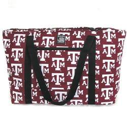 Texas A&M University Aggies Logo Deluxe Tote Bag with COTTON FABRIC Surface and WATERPROOF LINING