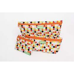 Ambajam Set of 3 Fabric Bags with Coin Purse, Mod Dot with Orange Zipper