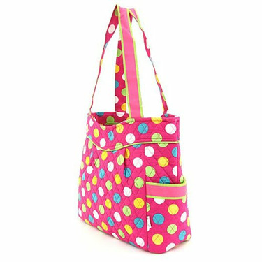 Quilted Large Polka Dots Diaper Bag (Fuchsia/ Multi)