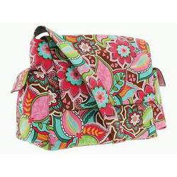 OiOi Pink Floral Bouquet Messenger Diaper Bag with Water Resistant Finish - NEW!