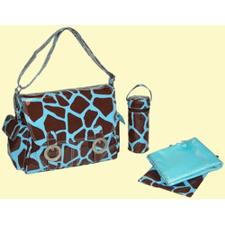 Coated Double Buckle Diaper Bag in Chocolate & Blue Giraffe