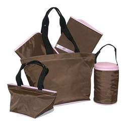 5-Piece Tote Set Chocolate/ Light Pink