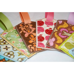 Travel Accessories Heather Bailey Flower Fabric Bag Tag with Vinyl Pocket, Id Card, and Snap Closure