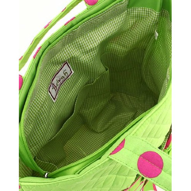 Belvah Large 3 Piece Quilted Monogrammable Baby Diaper Bag Tote w/ Matching Changing Pad and Zippered Wipes Bag - Lime Green & Hot Pink