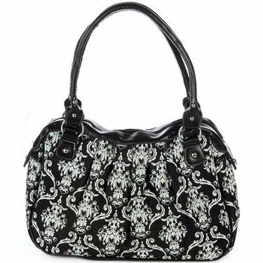 Baby Essentials Black & White Victorian Print Bag