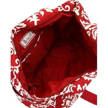 Red & White Damask Print Extra Large Diaper Bag W/changin Pad