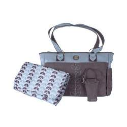 "Carter's ""Budding Leaves"" Diaper Tote - gray/blue, one size"