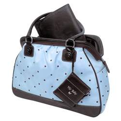 Baby Essentials Embroidered Large Satchel Diaper Bag with Brag Book - Blue Dot