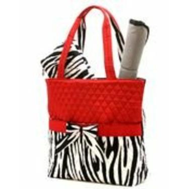 Zebra Print Diaper Bag 3 Piece Set Black Red White